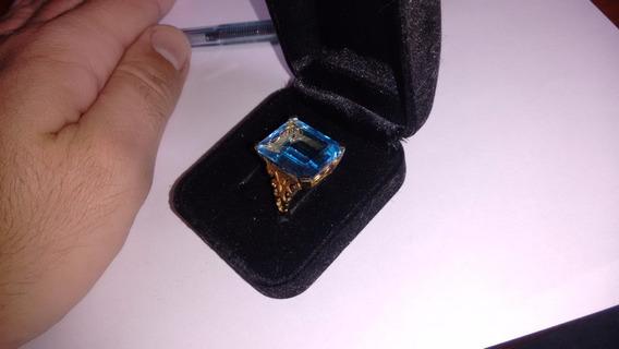 Anel Folhado Com Linda Pedra Azul Design Espetacular