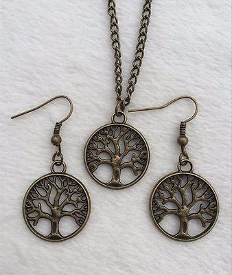 Colar E Brinco Místico Árvore Da Vida Prata Ou Bronze Reiki