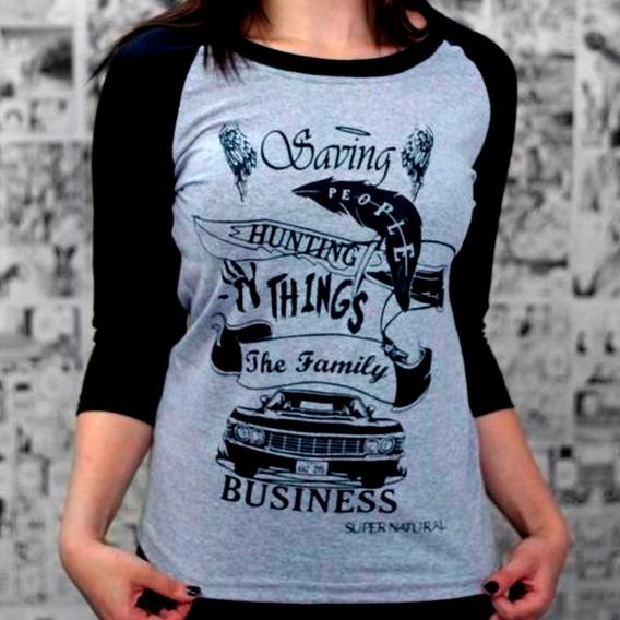 Camiseta Feminina Raglan Supernatural Winchester