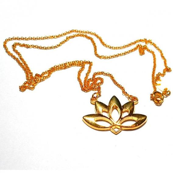 Colar Flor De Lotus 3cm Dourado