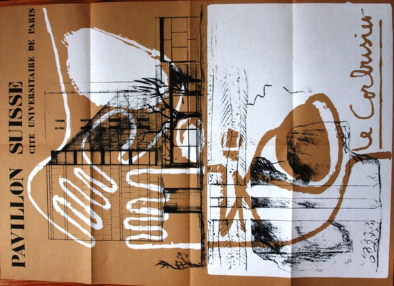 Le Corbusier Poster Pabellon Suizo Del Año 1986 Ambos Lados
