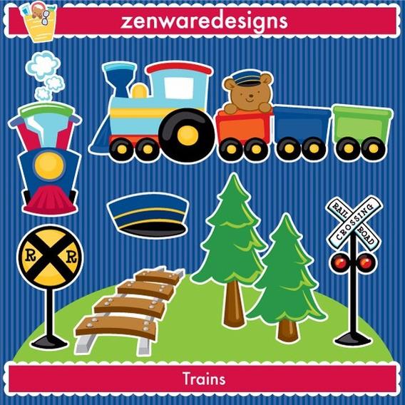 Kit Imprimible Ferrocarril Trenes Imagenes Clipart Cod1031