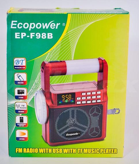 Radio Fm Ecopower Epf98b Bluetooth Usb Microsd Lanterna Novo