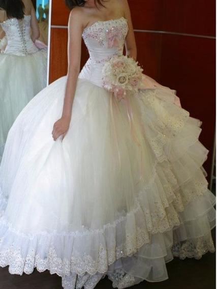 Vestido Beige Y Palo De Rosa Xv Años