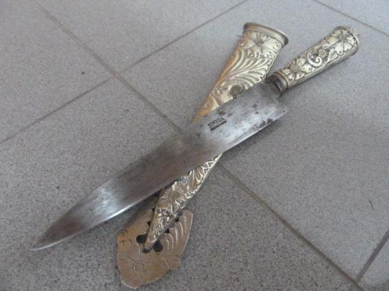 Antiguo Cuchillo Macho Simbra 44cm. Cabo Y Vaina Alpaca