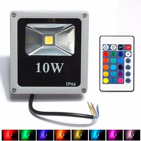 Holofote Refletor Led 10w Rgb Prova Dágua Bivolt + Controle