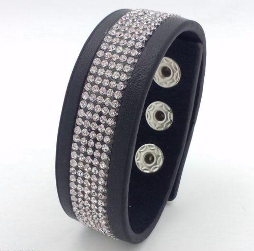 Linda Pulseira Bracelete Preta Strass Luxo