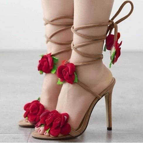 Sandália Sapato Amarração Flores Gladiadora Amarrar Festa