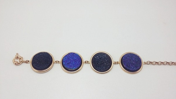 Pulseira Folheada A Ouro - Druza Preta E Azul