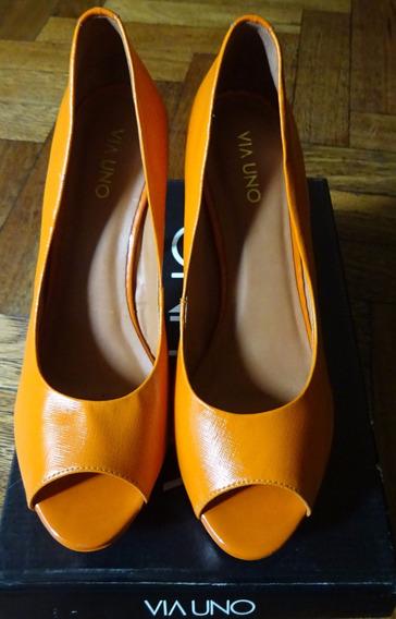 Stilettos Boca De Pez Color Naranja Via Uno 40 Europa 38 Bra
