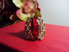 Lindo Anel Gold Plated Pedra Red E Strass