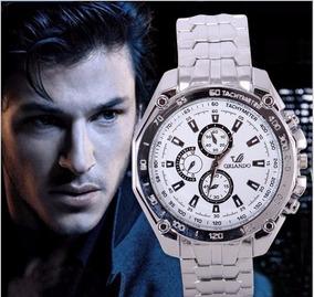 Relógio Barato Masculino Aço Cromo Fundo Branco Orlando