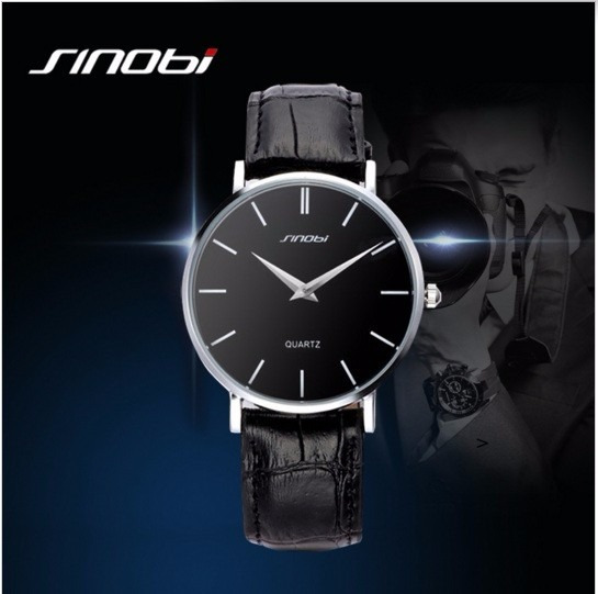 Relógio Pulso Fino Masculino Sinobi Elegante Simples Black