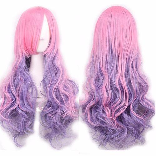 ! Peluca Cosplay Bicolor Violeta Rosado Harajuku Ondulada !!