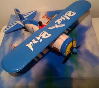 Avion Biplano Blue Bird Pila C/ Luces Año90 Lupetoys