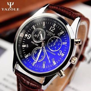 Relógio De Luxo Azul De Vidro Dial Pulseira De Couro Yazole