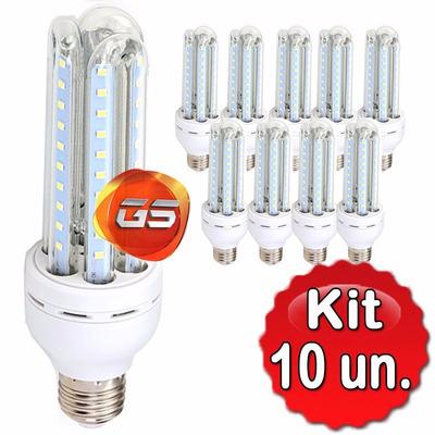Kit 10 Lâmpada Led 12w 3u Bivolt Soquete E27 - Branco Frio