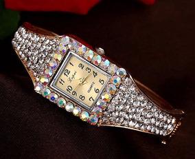 Pulseira Bracelete Relógio De Pulso Feminino Com Strass Luxo