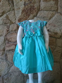 Vestido Infantil Festa Luxo Tafetá Verde Tifan Renda