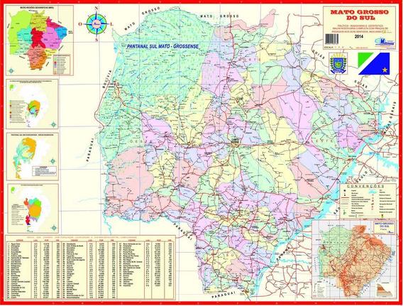 Mapa Do Estado Mato Grosso Do Sul - 117 X 89 Cm-frete Grátis