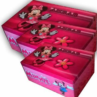 Minnie Caja De Madera Personalizada Tamaño Caja De Zapato