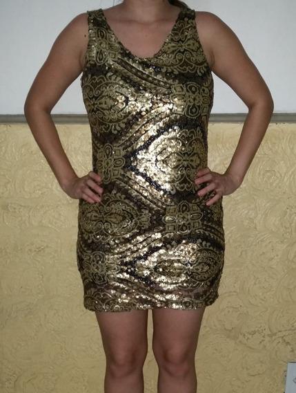 Vestido De Festa Paetê Dourado