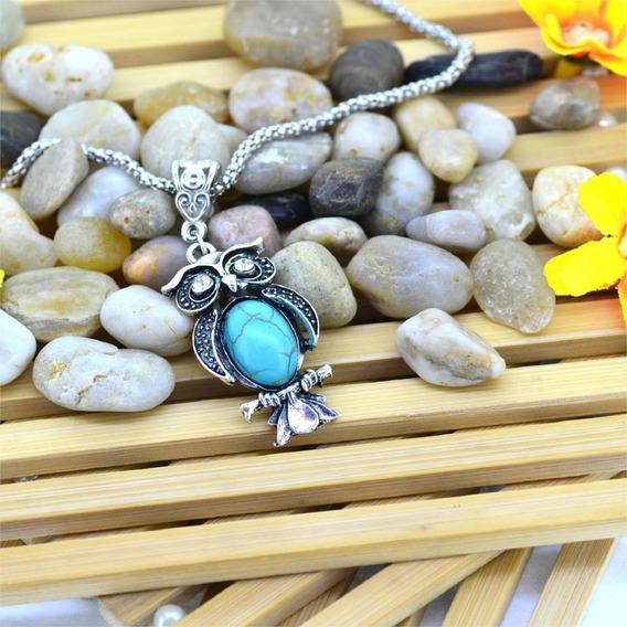 Colar Prata Feminino Pingente Coruja Pedra Azul A336