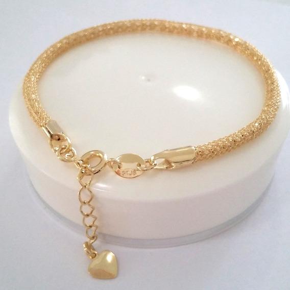 Pulseira Feminina Folheado Ouro Bracelete Dourado F.grátis