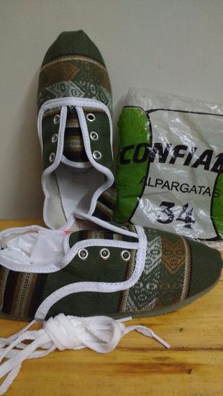 Zapatilla Aguayo Artesanal Norte Argentino Talle 34 Verde Os