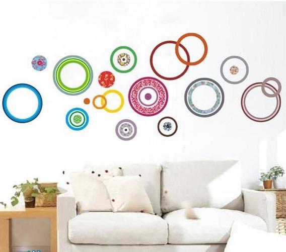 Adesivo De Parede Mandalas Círculos Coloridos Quarto Sala