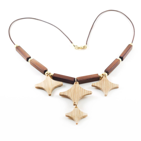 Estelar - Colar Artesanal Em Bambu E Ouro - Biojoia
