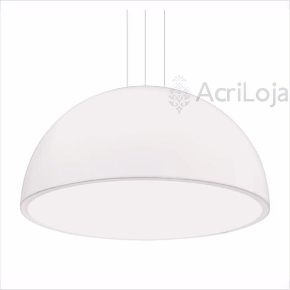 Luminária Lustre Pendente Órion Em Acrílico Branco Ø 60