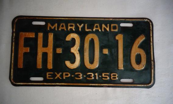 Placa Carro Maryland Anos 50 N°20