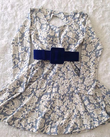 Vestido Azul Com Branco Decote Costas Tam M