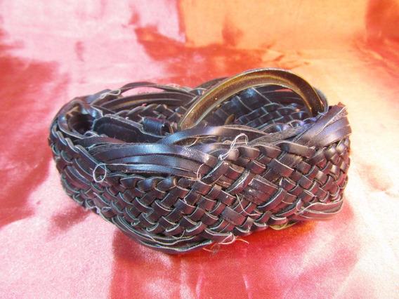 Femme Cinturon Ancho Tejido Color Negro Hebilla Grande 27512