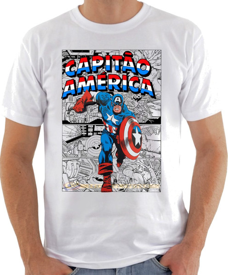 Camisa Camiseta Capitão America, Gibi Quadrinho Série