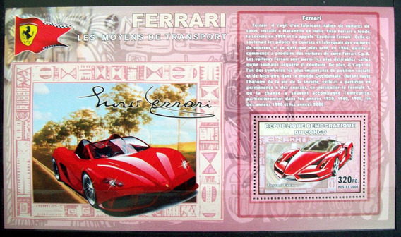 Congo, Autos Ferrari Enzo Bloque 1 Sello 2006 Mint L6103