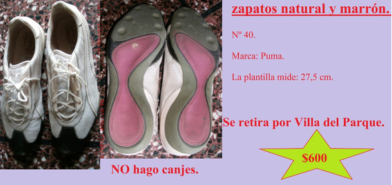 Zapatos Natural Y Marrón. Nº 40. Marca Puma