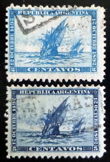Argentina, Serie Gj 135-6 Carabelas 1892 Usada L8519