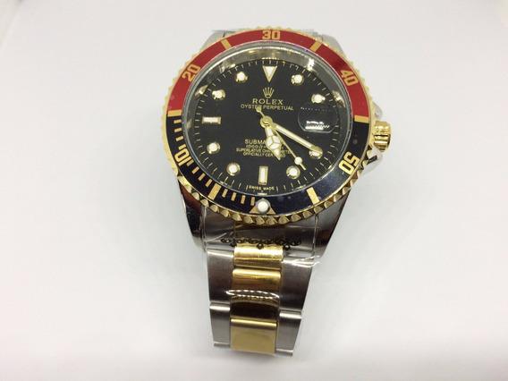 Relógio Submariner Prata / Dourado / Vermelho