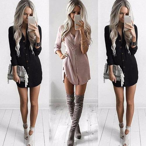 Vestido Chiffon Mujer Loose Long Sleeve Tee Tops Blouse //