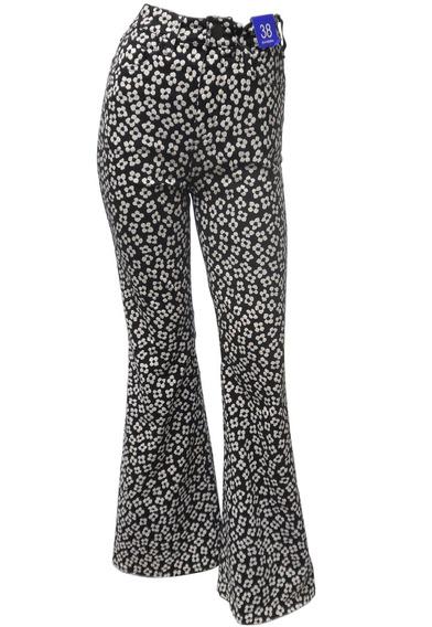 Calça Jeans Flare Estampada Com Cós Alto