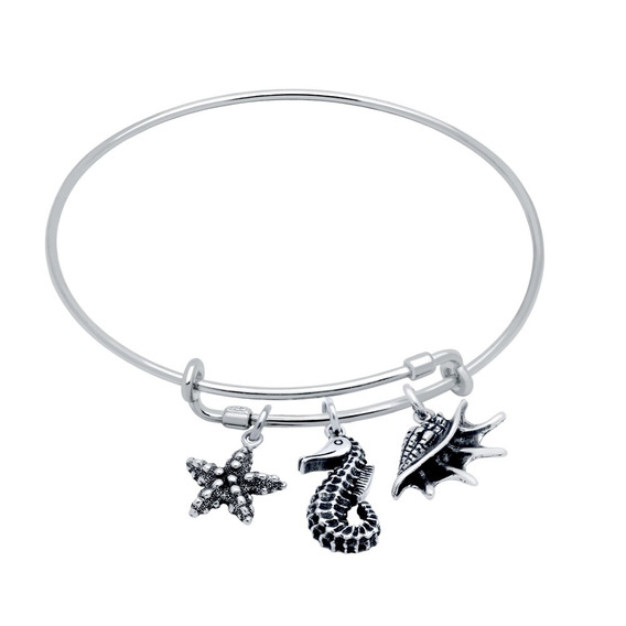 Bangle With Seashell, Starfish, And Sea Horse Charms