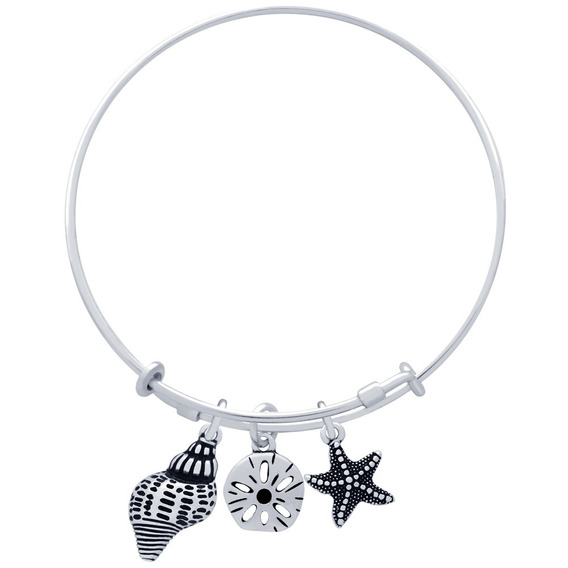 Bangle With Starfish And Seashell Charms