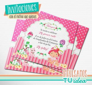 24 Tarjetas Invitacion Cumpleaños 9x13 Frutillita Bebe En