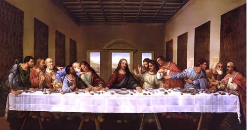 Imagen 1 de 6 de Lienzo En Tela, La Última Cena Leonardo Da Vinci. 50 X 90 Cm