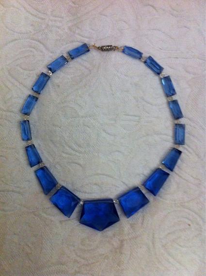 Colar Cristal Azul Lapidado 40cm. Pequeno Lascado Veja Fotos