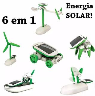 4 Brinquedos Miniatura Carro Avião Barco Robo Energia Solar