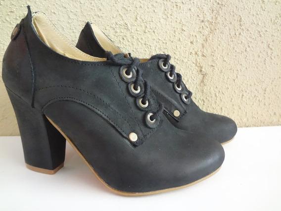 Zapato De Cuero 100% Con Taco. Florencia Z. Bajamos Los $
