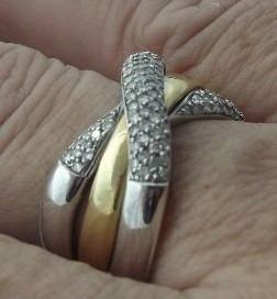 Anel Trançado Ouro Branco/amarelo 18k750 Diamantes 9,25grms
